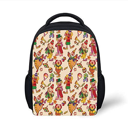 Circus Decor,Cartoon Circus Patterns Comedian Musical Toy Pleasure Hot Air Balloon, Plain Bookbag Travel Daypack ()