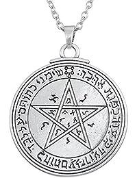 Dawapara - Collar con colgante de talismán con sello de pentáculo de Venus of King Salomón para mujeres y hombres