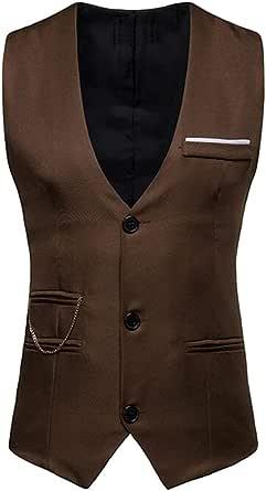 GRMO Men Slim V-Neck Solid Color Sleeveless Business Suit Vests Waistcoat