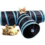 Túnel para gato HYSUNG 3 vías plegable Juego para mascotas Túnel con anillo Sonido divertido Tubo