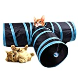 Cat Tunnel HYSUNG Tunnel di gioco pieghevole a 3 vie per animali domestici con Ringing Ball Fun Soft Tube Toy per Kitten Puppy and Rabbit