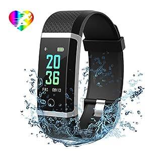Mpow Fitness Tracker IP67 Schermo a Colori, Monitoraggio del Sonno, Cardiofrequenzimetro, Contapassi, Calorie, Ossigeno nel Sangue ed Energia, Notifiche Messaggio, Visualizzazione Chiara al Sole, Nero