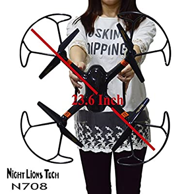 Night Lions Tech N708  23.6 Inch Drone 6 Axis Multifunctional  Big RC Quadcopter Drone with  2MP HD Camera LED Light Black or White Randomly Shipped from Night Lions Tech