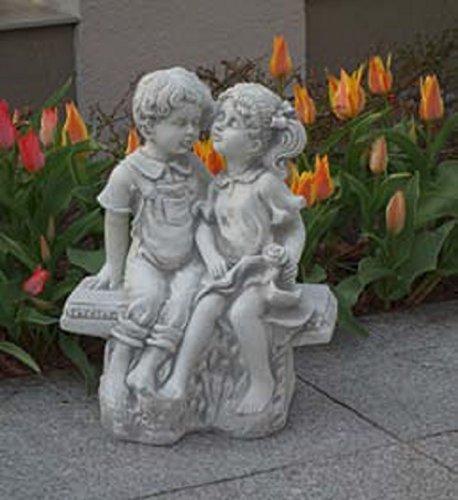 Kinderpaar auf Bank (S101173) Kinder Gartenfiguren Statuen Steinguss 40 cm