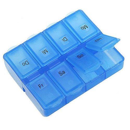 Pillenbox BLAU transparent - Pillendose - Tablettenbox - 8 Fächer - verschiedene Mengen frei wählbar (1)