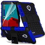 ONX3® ( Blue ) Vodafone Smart Prime 6 Hülle Abdeckung Cover Case schutzhülle Tasche Custom Made Tough Survivor Fest Rugged Shock Proof Heavy Duty Case W / Back-Stand, LCD-Display Schutzfolie, Poliertuch und Mini-versenkbaren Stift