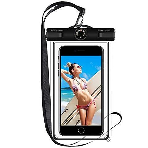 Wasserdichte Schutzhülle, ToHayie Handy mit Thermometer Wasserdichte Hülle für iPhone 6/6S/Plus, 7/7 Plus, 5S,Galaxy Galaxy S8/ S7,TPU Konstruktion und IPX8 bis zu 100 Fuß, Schwarz