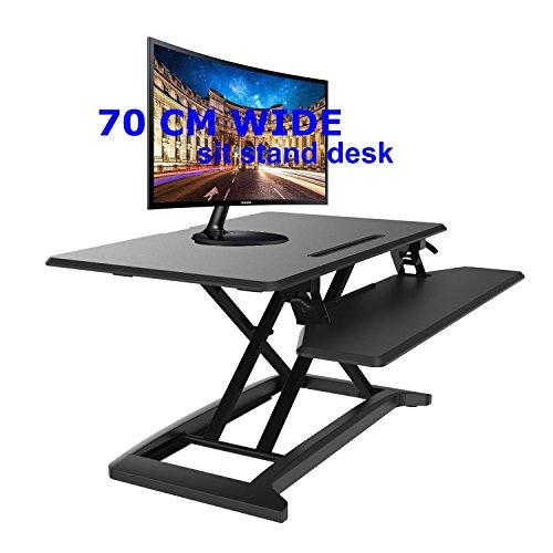 Ergoneer neu gestaltete Höhe einstellbar standing Desk Converter mit Smart abnehmbare Tastatur Tray   Premium Sit-Stand Computer Workstation einstellbar auf jede Höhe (Schwarz, 70) (Abnehmbare Arbeitsfläche)