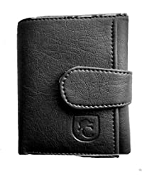 AVB®-Genuine Tri Fold Wallet Black Men's Executive Soft Leather Gents Wallet Trifold Purse With Card Slots