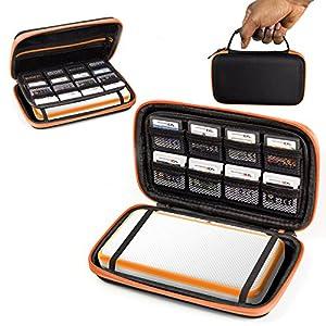 ORZLY® 2DS XL Case, Tasche für das Neu Nintendo 2DS XL – Aufbewahrungstasche / – Hartschalen Case/Cover/Hülle/Schutzhülle für die New Nintendo 2DS XL Konsole & Accesoires – ORANGE auf Schwarz