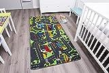 Kinderteppich mit Stadt zum Spielen, 140x200cm  Schadstoffgeprüft  Anti-Schmutz-Schicht  Auto-Spielteppich, Auto-Teppich für Jungen & Mädchen  Verkehrsteppich für Fußbodenheizung geeignet  Getufteter Straßen-Teppich fürs Kinder-Zimmer
