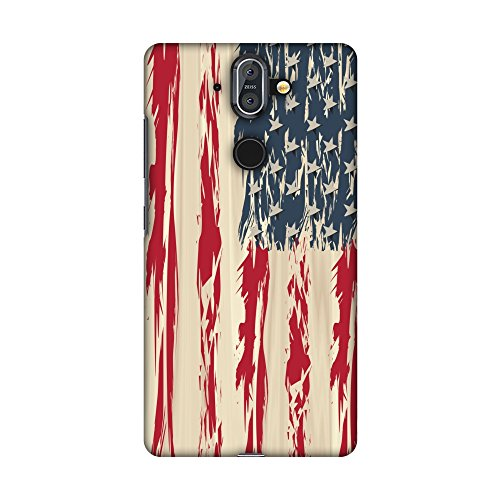 Usa Flag Kit (AMZER Slim Fit Handcrafted Designer Printed Snap On Hard Shell Case Back Cover with Screen Cleaning Kit Skin for Nokia 8 Sirocco - USA Flag- Paint Splashes HD Color, Ultra Light Back Case)
