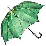 VON LILIENFELD grüner Regenschirm Automatik mit Pflanzenmotiv