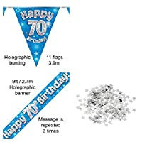 Everyoccasionpartysuppplies 70th Birthday Decoration Kit Banner Bunting Confetti Blue Men Women Him Her