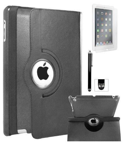 DMG Full 360 Degree Rotating Leather Cover Smart Case for Apple iPad 2/3/4 with DMG Wristband, Matte Screen, Stylus (Black)