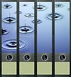 4er Set Ordnerrücken für breite Ordner Wassertropfen Wasser Aufkleber Etiketten