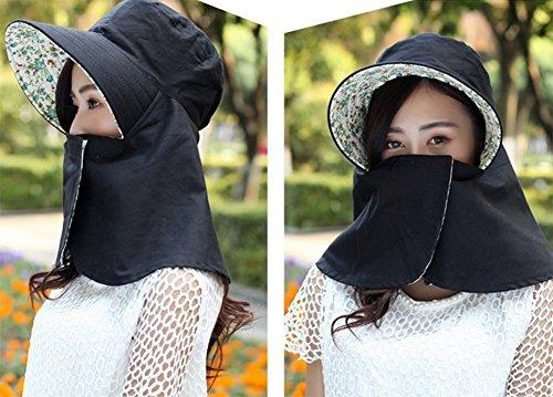 Leisial Femme Anti-soleil Casquette visières Anti UV Couvrant son visage pliable Chapeau de soleil pour Cyclisme Loisir Sport Noir