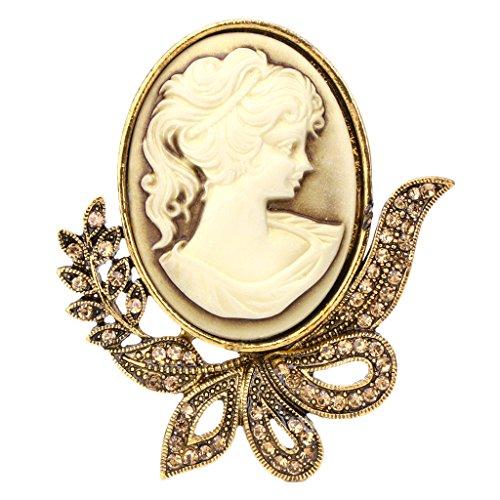 Dabixx Vintage Design Königin Stil Prinzessin Lady Cameo Brosche Hochzeit Party Geschenke - Gold
