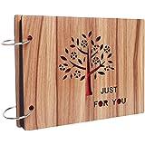 DIY cubierta de madera álbum de fotos, sicai 8Cun DIY álbum de fotos madera cubierta completa amor aniversario recuerdos con páginas en negro