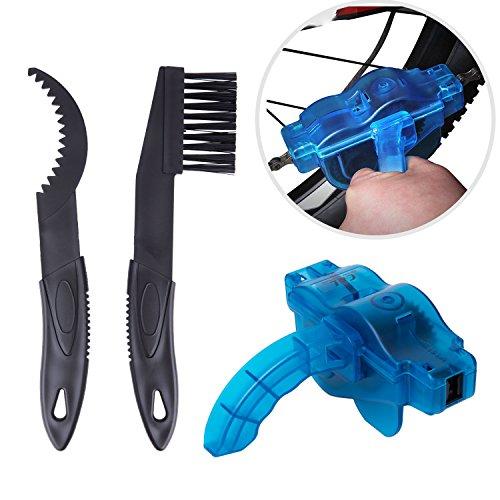 ZeWoo Aparato para Limpiar Cadenas de Bicicleta Limpiador Herramienta + 2 Cepillos de Limpieza para Cadena de Bici