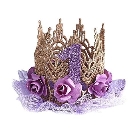 TiaoBug Bandeau Enfant Fille Garçcon Floral Dentelle Bandeau Princesss Prince Couronne Royale Tiara Diadème Anniversaire Mariage Soiree Fête Violet Taille unique