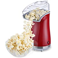 Excelvan Air Popcorn Maker for Healthy and Fat-Free Retro Hot Air Popcorn (Red)