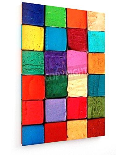 Bunte Pastellkreiden - 40x60 cm - Textil-Leinwandbild auf Keilrahmen - Wand-Bild - Kunst, Gemälde, Foto, Bild auf Leinwand - Abstrakt (Kunst Leinwand Foto)