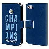 Head Case Designs Officiel Manchester City Man City FC Bleu 2019 Champions Coque en Cuir à Portefeuille Compatible avec iPhone 4 / iPhone 4S