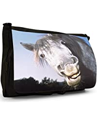 Horse Heads Black Large Messenger School Bag