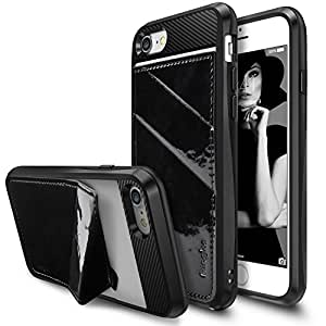 iPhone 7 Case, Ringke [EDGE] Minimal Wallet [Folding Kickstand] Shock Absorption TPU Cover PU Leather Back Tailored Cutouts Standing Feature Hidden Card Holder for Apple iPhone 7 - Black Enamel