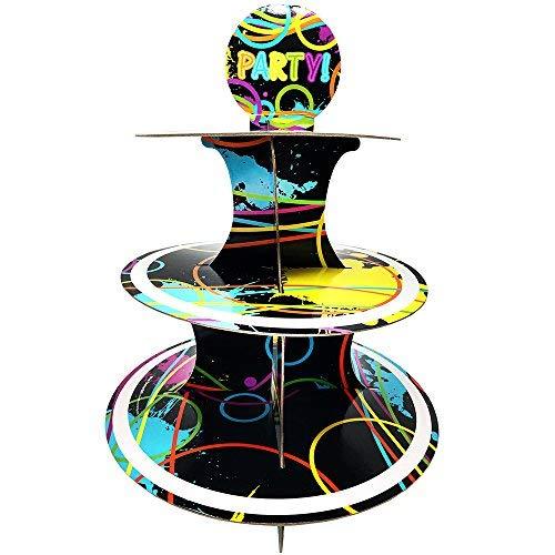 Glow Party Cupcake-Ständer & Pick Kit, Glow Party Supplies, Dekorationen, Geburtstage, Kuchen Dekorationen, 3Etagen Karton