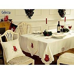 Mantel de mesa navideño Diseño Celesta Candle 4 tamaños (127cm x 178cm/Crema)