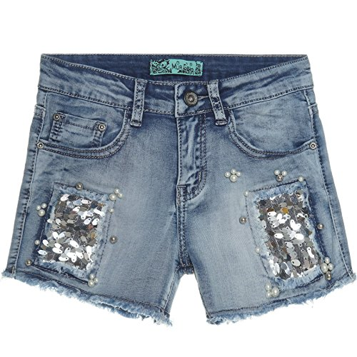 Mädchen Kurze Hose Girl Bermuda Shorts Sommer Capri Kinder Hot Pants Jeans 21303, Farbe:Blau;Größe:152