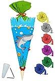 BASTELSET Schultüte -  Hai Fisch & Unterwasser Welt  - 85 cm - incl. Schleife - mit / ohne Kunststoff Spitze - Zuckertüte - Set zum selber Basteln - 6 eckig..