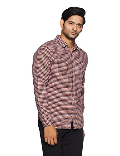 Amazon Brand- Symbol Checkered Regular Fit Casual Shirt (SS18-SMCS-118_Orange_X-Large)