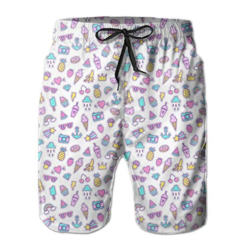 Cute Patches Pattern Men's Fashion Beach Shorts Quick Dry Pockets Beachwear,Shorts Size L