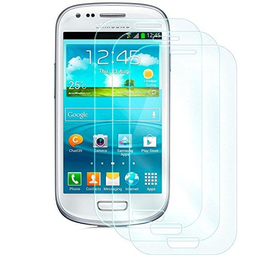 [3 Stück] Displayglas für Samsung Galaxy S3 Mini (GT-i8190) | Panzerglas für die Vorderseite des Handys | 9H Härtegrad | Kratzfest + Abwaschbar | Touchfunktion bleibt erhalten (Glas Screen Protector Mini S3)