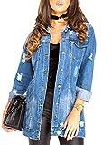 SS7 femmes surdimensionné délavé Veste en jeans, Tailles 8 pour 16 - Jean Bleu, Small