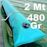Tubolare Salsicciotto Tubolari Perimetrali Rinforzati in PVC Verde per Telo di Copertura Invernale per Piscina - Lunghezza MT. 2 da 480 Gr / Mq - RESISTENZA MAGGIORATA