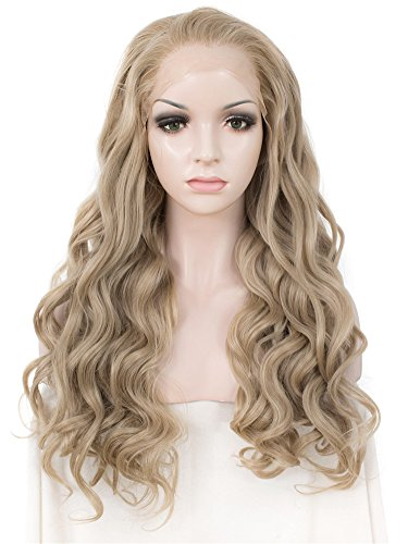 Lace Front Perücken Hitzebeständigen (M16/613# Long Body Wavy Charming Lady Gaga Grey Ombre Little Blonde Color Synthetic Lace Front Wig Charming Hair Wigs by IMSTYLE)
