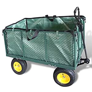 Chariot jardin/remorque à main en métal rebords amovibles 4 roues 350 kg de charge sac de transport inclu