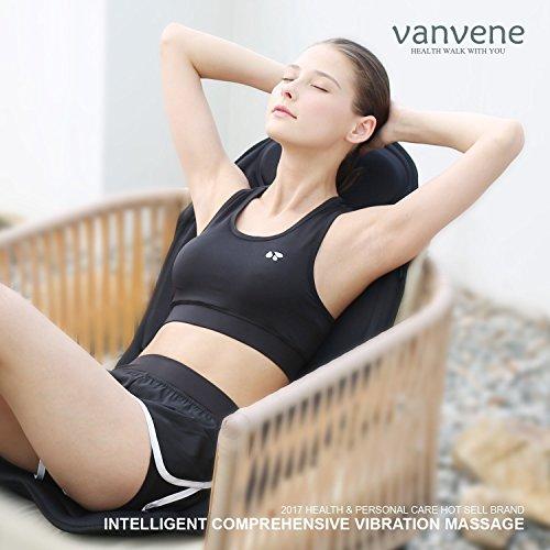 Vanvene Massagesitzauflage für Nacken gesamten Rückens Gesäß Oberschenkel Massagesitz Massagematte mit Luftdruck Wärme Vibration Tiefenmassage Rollmassage(ideal für Auto oder Büro)
