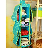 Portátil multifunción 4capas 6bolsillos para colgar armario de almacenamiento bolsa de ropa bolsa, azul, talla única