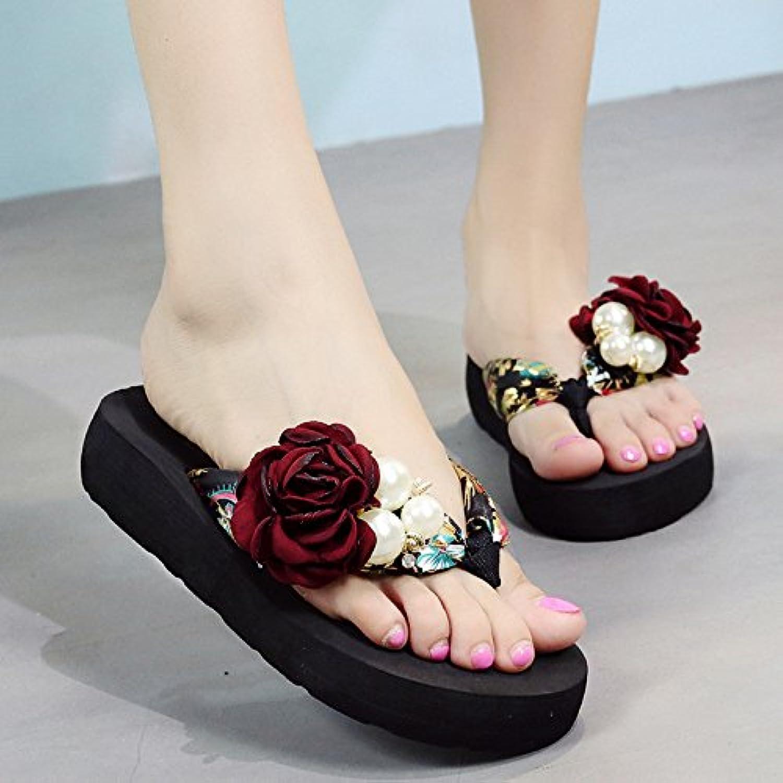 FLYRCX Flor resbaladiza zapatillas damas' de moda de verano clip antideslizante flip flops zapatillas de playa... -
