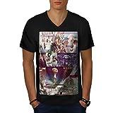 wellcoda Spazio Bomba Mare Moda Uomini Black 2XL T-Shirt con Scollo a V