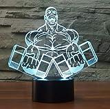 Lampe d'illusion Optique Veilleuse,Muscle Man Haltère Fitness 3D Night Light Chambre...