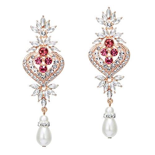 Coucoland 1920s Ohrringe Damen Retro Stil Perlen Dangle Ohrringe Inspiriert von Great Gatsby Damen Kostüm Accessoires (Stil 3-Rose Gold) (Gatsby Girl Kostüm)