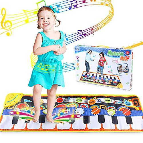 WOSTOO Piano Mat, Klaviermatte Musikmatte mit Aufnahme Funktion 5 Modi 8 Instrumente Sounds Spielzeug Musik Matte, Tanzmatte Floor Musical Spielzeug für Kinder Geschenk (Matte Sound)