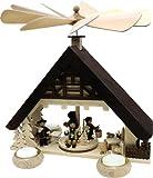 Holz Bastelset 3-D - Pyramide Haus mit Teelicht - komplett ausgesägt natur / zum selber basteln - Echt Erzgebirge - hergestellt in Deutschland - Deko für Weihnachten / Kinder + Erwachsene - Komplettset