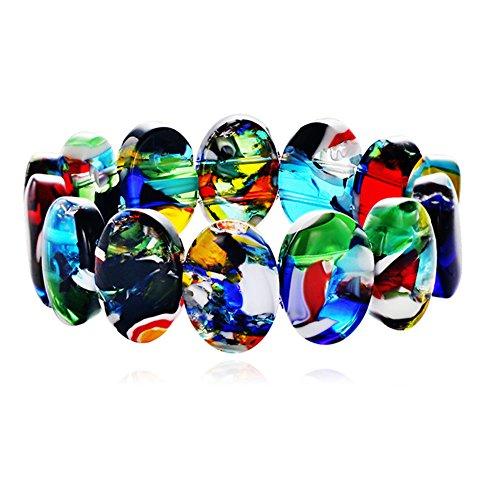 aiuin 1x Armbändern Glas Camo Farbmischung Damenuhr Weihnachtsgeschenk Jahrestag Valentinstag Schmuck und Dekoration (mit einer Handtasche Schmuck)